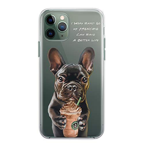 Black French Bulldog Gifts Phone Case for iPhone 8 7 6 6s Plus X 13 12 Mini Xs 11 Pro Max Xr 5s SE 2 2020 Case Frenchie Dad Mom Gifts Cute Dog Lover Owner Animal Accessories Clear Cover