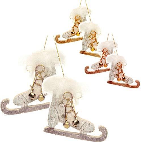 alles-meine.de GmbH 1 Paar _  Schlittschuhe mit Glitzer & Kunstfell & Glöckchen - FARB-Mix  - aus Holz - 8 cm - Miniatur / Diorama - Anhänger - Weihnachtsdeko / Winter - Winter..