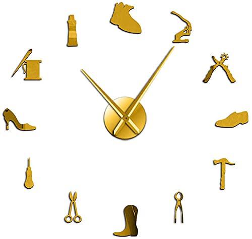 Reloj de pared decorativo silencioso zapatero herramienta profesión DIY reloj de pared vintage zapatero herramienta martillo de zapato autoadhesivo acrílico espejo etiqueta