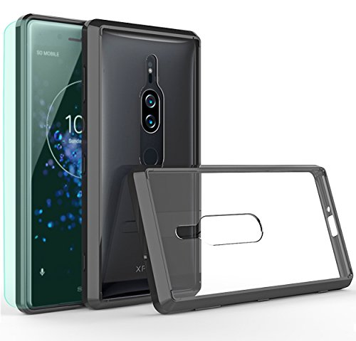 Thinkart Sony Xperia XZ2 Premium Case with HD Screen Protector Crystal Clear TPU Bumper Ultra Slim Protective Case with Anti-Scratch for Sony Xperia XZ2 Premium Phone (Black)