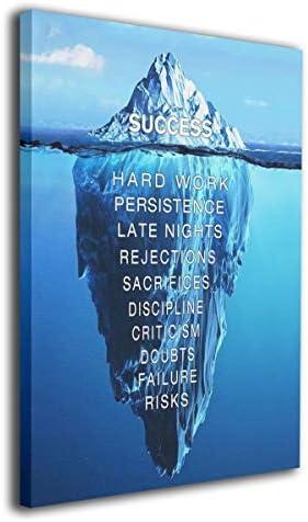 MARTOO ART Quotes Success Inspiration Motivation Iceberg Canvas Wall Art Print Inner Framed product image
