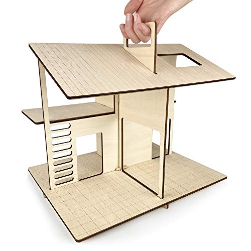 Wooden Dollhouse - Portable Toy Doll House Modern Design for Small Dolls & Toys up to 3' high. Best for 3, 4, 5, 6 7 Year Old Girls & Boys, Toddler & Kids Playhouse with Reusable Felt Storage Bag.
