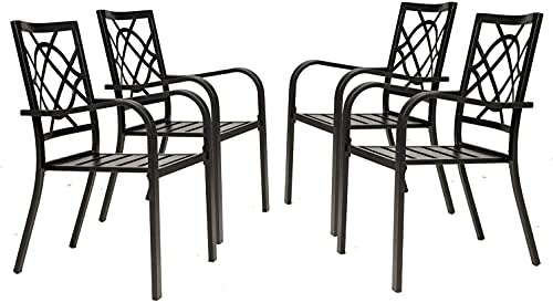 Crownland Patio Wrought Iron Dining Chairs Set of 4, Outdoor Bistro Stackable Metal Chairs with Armrests for Garden, Poolside, Backyard (Black)