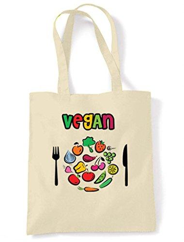 Vegan Plate Colours Tote/Shoulder Bag (Cream)