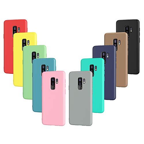 VGUARD 10x Custodia Cover per Samsung Galaxy S9+ / S9 Plus, Sottile Morbido TPU Silicone Antiurto Protettiva Case (Nero, Grigio, Blu Scuro, Blu Cielo, Blu, Verde, Rosa, Rosso, Giallo, Marrone)