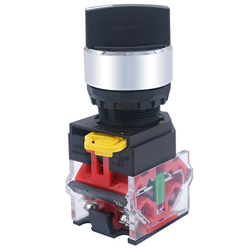 Mxuteuk 1NO 1NC 2 posiciones Selector Selector Selector Selector Selector Selector Selector 600V 10A, 22mm Latching, 3 años de garantía LA36A-11X/21