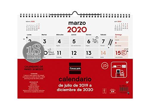 Calendario de pared 18 meses 2019-2020 español