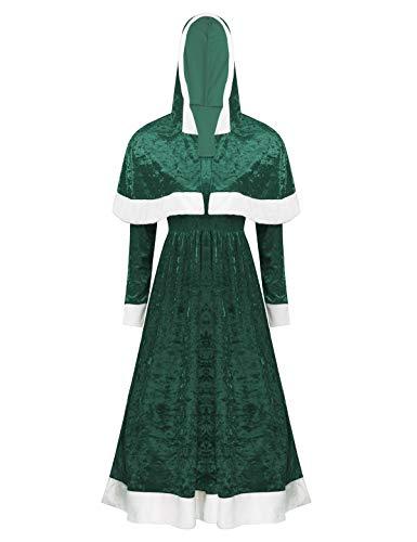 Freebily Disfraz Mama Noel Mujer de Fiesta Navidad Vestido Terciopelo Navideño Largo de Santa Cluas con Capucha Verde X-Large