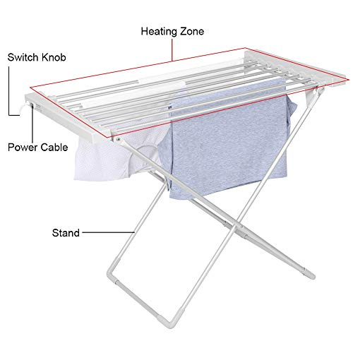 Best Buy! Electric Clothes Dryer, Electric Dryer Heated Rack Household Alloy Aluminum Electric Cloth...