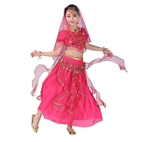 YWLINK Danza del Vientre, NiñAs India Danza del Vientre Danza Egipcia Traje De Rendimiento Conjunto De 2 Piezas Traje De Baile Vestido De Fiesta Bien Parecido(Rosa Caliente,4-9 años/S)