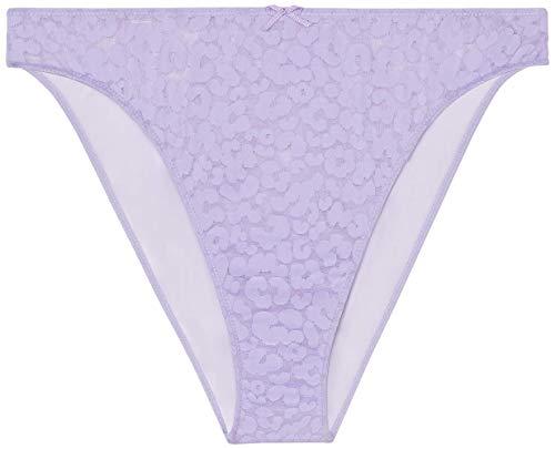 Savage X Fenty Damen Reg High Leg Leopard Lace Bikini, Purple Lavender, S