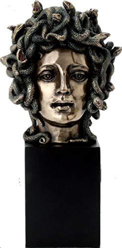 Studio Collection Medusa: Greek Mythology Gorgon on Plinth ((Cold Cast Bronze Bust 21cm / 8.26 inches)