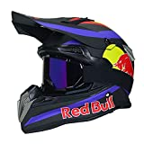 Casque Motocross AdulteCasque Moto Modulable Cross Moto,Certification ECE Casques Moto Cross Homme Femme Casque VTT Integral BMX Velo Quad Enduro ATV Scooter Red Bull B,M=55~56cm