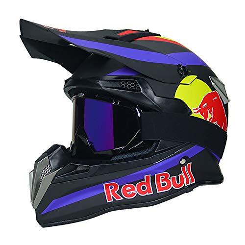 HZIH Casco Moto Motocross,Caschi integrali Casco da Motocross Certificazione ECE Locomotiva da Uomo Mountain Racing Ciclismo in Discesa Casco Integrale Occhiali Red Bull B,M=55~56cm