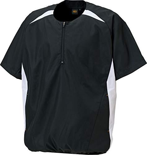 ゼット 野球 半袖 ハーフジップジャンパー 防風 ブラックXホワイト M BOV535H