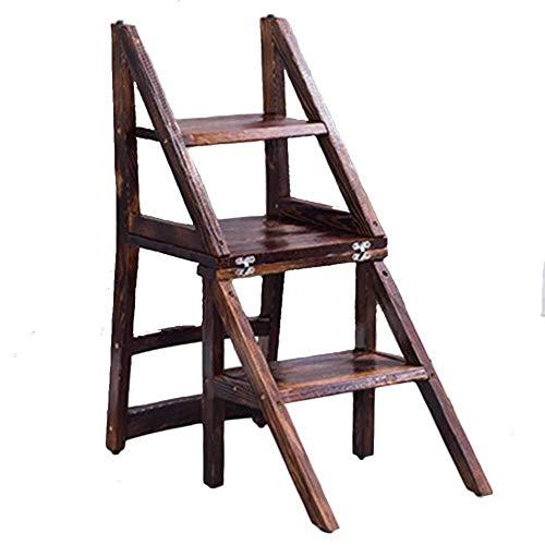 DNSJB Silla de comedor de madera maciza plegable silla de escalera de madera respaldo de doble uso taburete escalera de madera
