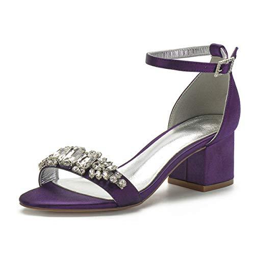 GGBLCS Sandalias De Boda Tacón Ancho para Mujer Satén Punta Abierta Correa De Tobillo Zapatos De Novia Fiesta con Diamantes De Imitación 702-6,Dark Purple,41 EU