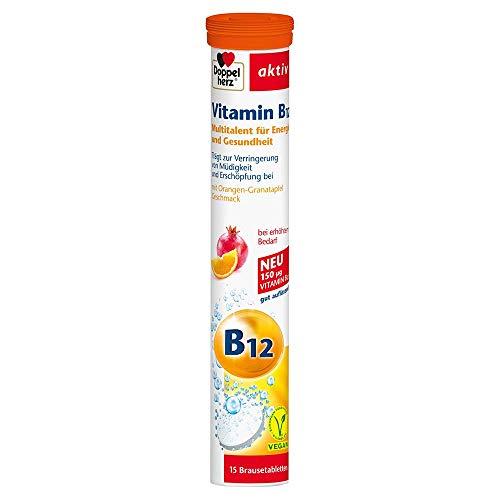 Doppelherz Vitamin B12 Brausetabletten – Vitamin B12 als Beitrag für den normalen Energiestoffwechsel – 15 Brausetabletten