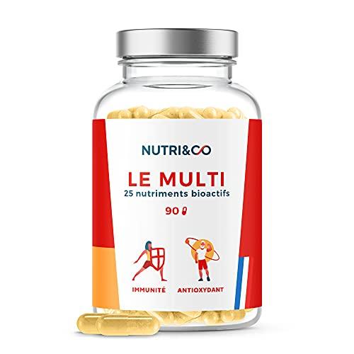 Multivitamines et Minéraux 25 Nutriments • Zinc, Vitamines A B C D3 E K2 Bio-actives & Minéraux Haute Absorption • 90 Gélules Made in France • Nutri&Co