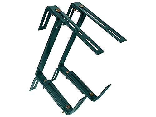 HelpAccess Metal Balcony Bracket Accessory, Adjustable Balcony Brackets for Troughs, Railing Clamp Brackets,Garden Planter Holder, Angle Bracket, Window Box Brackets (3-ways (01#), Green)