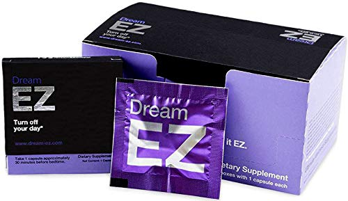 Dream EZ Natural Sleep Aid with 100% Valerian Root and Lemon Balm   Non-Habit Forming   Stress, Anxiety, Insomnia Relief Supplement   Immune Support + Chamomile, Melatonin, L-Tryptophan (24)