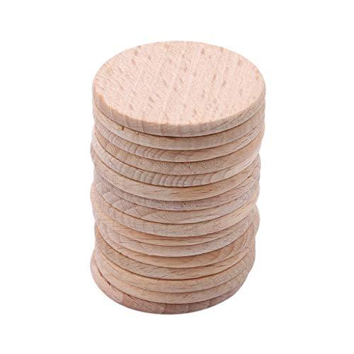WEILYDF 100 Stücke Runde Holzspäne Einfache Glatte Kanten Natürliche Holzscheiben Platte Dekoration DIY Handwerk Holzspäne