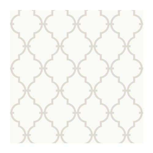York Wallcoverings Peek-A-Boo Graphic Trellis Removable Wallpaper, White/Soft Taupe Grey