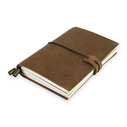 Large Leather Journal - The Wanderings Grande Refillable Travel Notebook - Perfect for Writing, Sketching, Scrapbooks, Travelers, Extra Large, Blank Inserts 11x7.5 inches