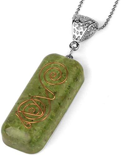 NC188 Collares Pendientes de Piedra para Mujer, Hecho a Mano, Envuelto en Alambre, rectángulo Natural, Piedra Preciosa, Colgante de olivino, Collar con Cadena de Plata, Regalo