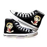 Vngbds Zapatos de Lona One Piece Zapatos de Anime Zapatillas Altas Zapatillas de Suela de Goma for Estudiantes Casuales con Cordones Zapatos Planos para Estudiantes Adultos