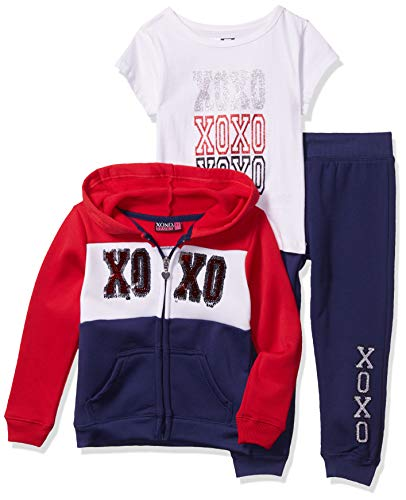 XOXO Girls' Toddler Hoodie, Tee & Joggger Set, Cotton Candy Navy, 3T