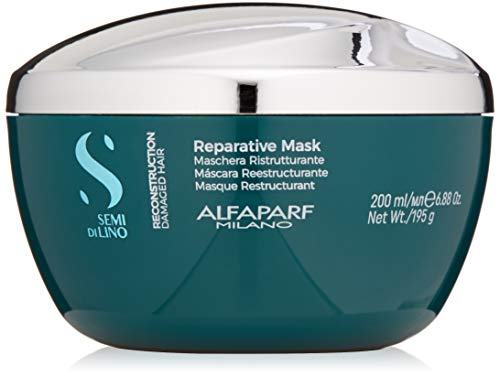 Alfaparf Milano Semi Di Lino Reconstruction Reparative Mask for Damaged Hair, Sulfate Free - Safe on Color Treated Hair - Paraben and Paraffin Free - Professional Salon Quality, 6.88 Fl Oz