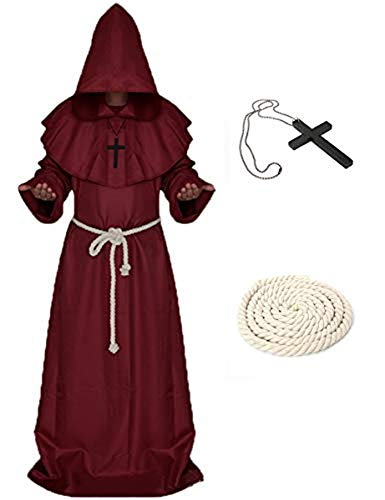 Mescara Robe de Moine Prister - Manteau de Moine Moyen Age Capuche Renaissance Robe Halloween Cosplay (Rouge, XL)