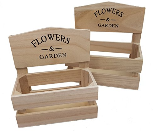 Deko Pflanzkasten - 2er Set - Holz Pflanzgefäß Blumen Kasten Kräutergarten Regal