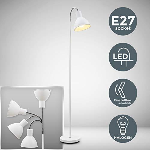 B.K. Licht lampadaire à pied métal blanc, lampe à vasque, style industriel moderne, tête inclinable, pour bureau, salle à manger salon chambre