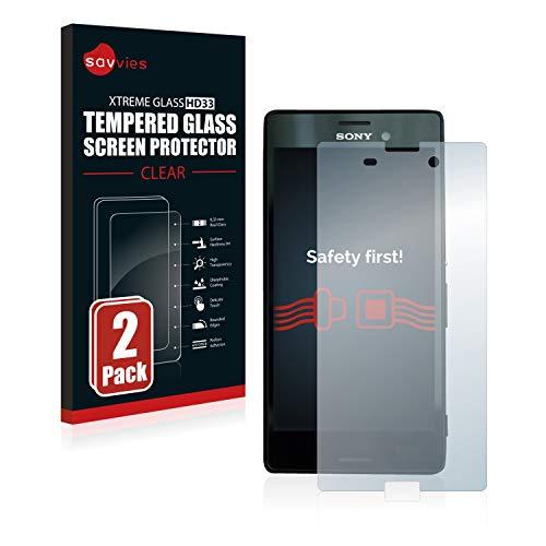 Savvies Panzerglas kompatibel mit Sony Xperia M4 Aqua (2 Stück) - Echt-Glas, 9H Festigkeit, Anti-Fingerprint