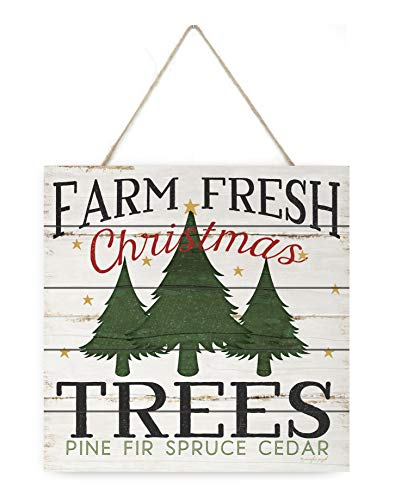 MRC Wood Products Farm Fresh Christmas Trees Wooden Plank Sign 7.5x7.5