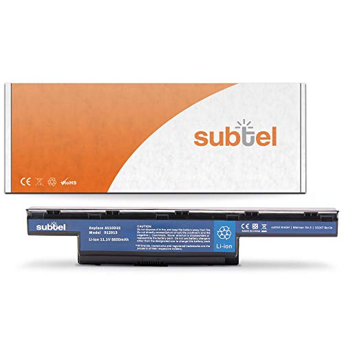 subtel® Batería Premium (6600mAh) Compatible con Acer Aspire 5742/5750 / 7560/7741 / 7750 / V3 571 AS10D31 bateria de Repuesto, Pila reemplazo, sustitución