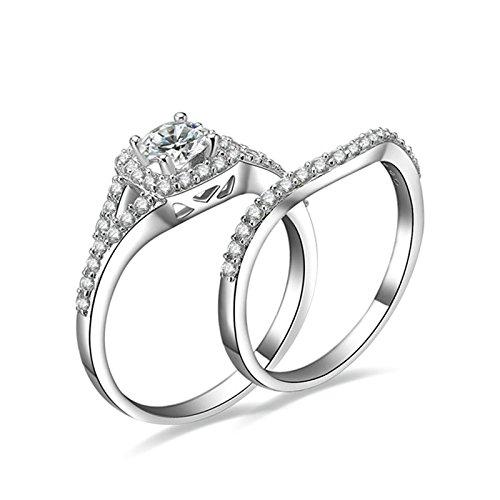Beydodo Anello Diamante Argento 925 Anello Fidanzamento Donna con Rotonda Brillante Diamante Anelli Impilabili Taglia 10-27