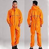 YERIN Chubasquero para motocicleta, conjunto con chaqueta de motocross para hombres y mujeres, traje de lluvia de fisión, color naranja, XXXL