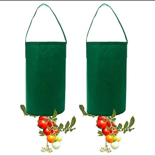 JYCRA 2 Stück Tomaten-Pflanzbeutel, Filz, zum Aufhängen, Tomaten-Pflanzgefäß, Garten, Pflanztasche für Pflanzen, Tomaten, Kräuter, etc. (grün)