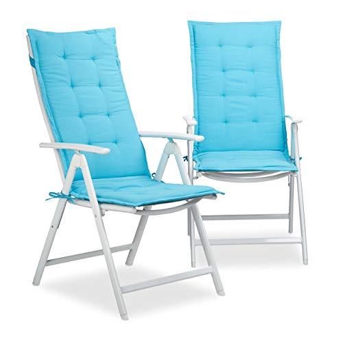 Relaxdays Cojín para Exterior, Algodón-Poliéster, Azul, 2.5x48x120 cm