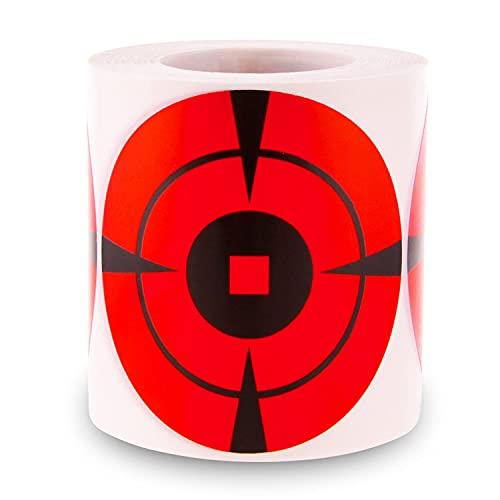 MEMX Bersagli di Tiro Reattivi, 200 Bersagli in Carta Adesiva da 10,16CM ad Alta visibilità, Feedback Visivo con Forza di Impatto Avanzata, Adatto per Fucili e Pistole.