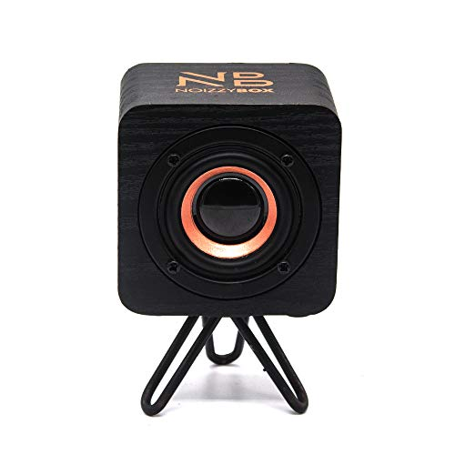 NB NOIZZYBOX Cube XS Stand Premium Wood Finish Portable Wireless Bluetooth Speaker with 5W Output, HD Sound Portable Speaker 14+ Hrs Playtime Bluetooth 5.0, Aux-in/TWS (Double Black with Stand)