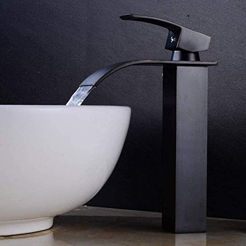 ZHWDD Grifo grifos Grifo de la Cocina de baño Grifo Negro de Bronce Antiguo Alto Orificio de Plomo Baño Libre del Grifo del Fregadero sobre Negro hefeide