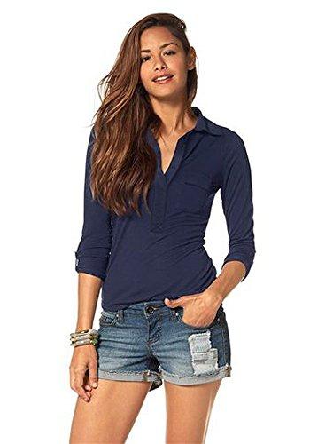 AJC Damen Langarmshirt Langarm Shirt Bluse Marine 42