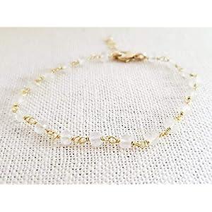 Clear Quartz Bracelet - Gemstone Jewelry - Wire Wrapped Rosary Chain - 14k Gold Filled