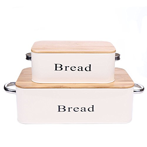 Cream Vintage X559 Set of 2 Metal Kitchen Storage Tin Canister Bread box/container/Bin/Home Kitchen Gifts With Bamboo Lid