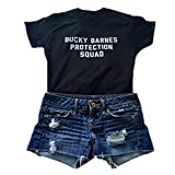 hiphop tees Bucky Barnes Protection Squad Casual Short Sleeve Women's T-Shirts, Black, Large