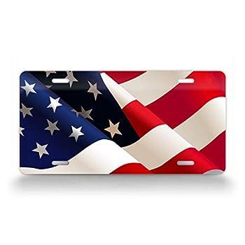 SignsAndTagsOnline Wavy American Flag HD License Plate Patriotic Waving USA Flag Auto Tag